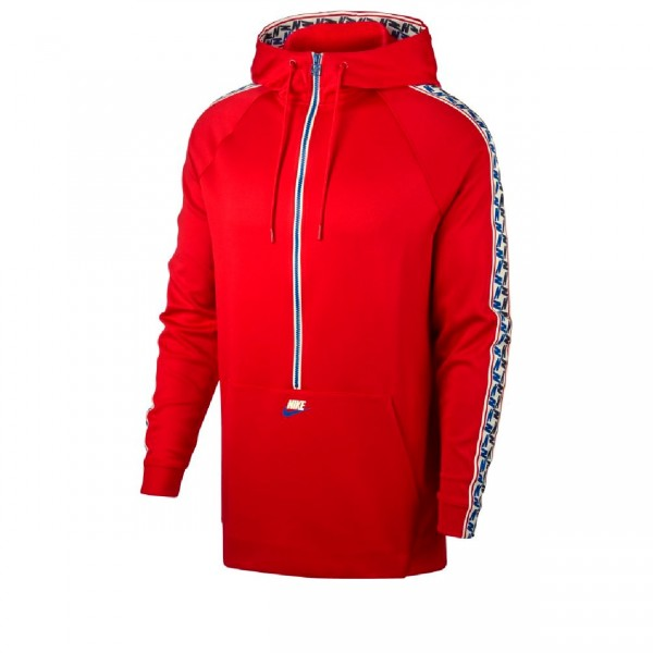Nike Taped Poly Half Zip Hooded Jacket (University Red/Sail)