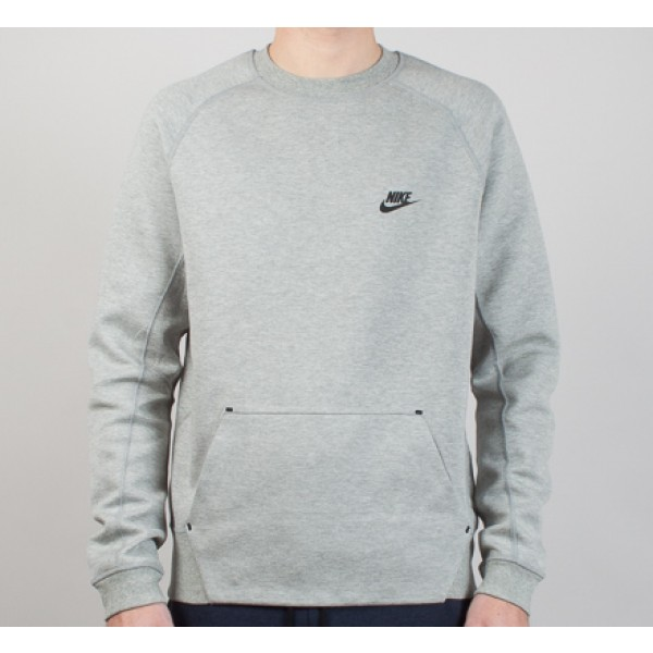Nike Tech Fleece Crew Neck Sweatshirt (Dark Grey Heather/Medium Grey/Black)
