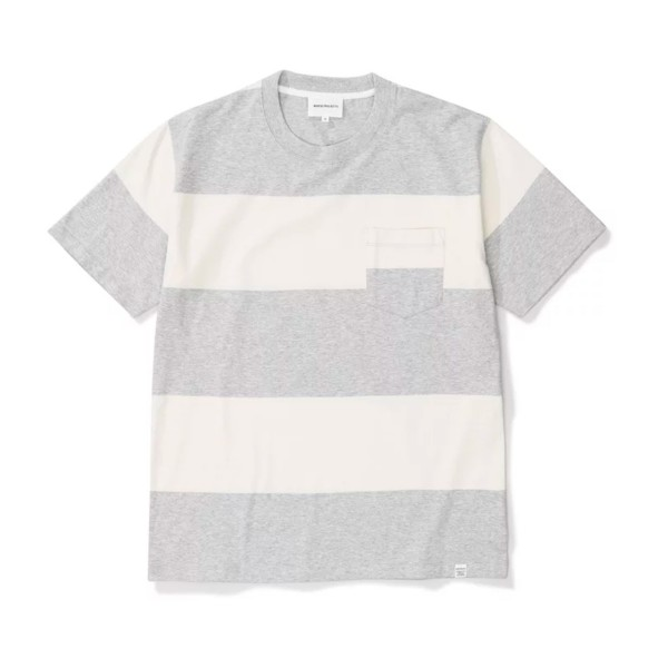 Norse Projects Johannes Block Stripe T-Shirt (Light Grey Melange)