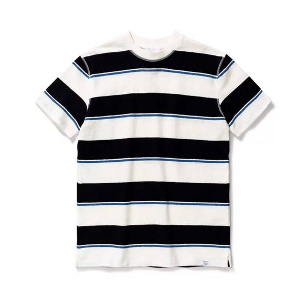 Norse Projects Johannes Textured Stripe T-Shirt (Dark Navy)