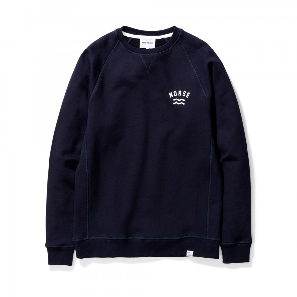 Norse Projects Ketel Ivy Wave Logo Crew Neck Sweatshirt (Dark Navy)