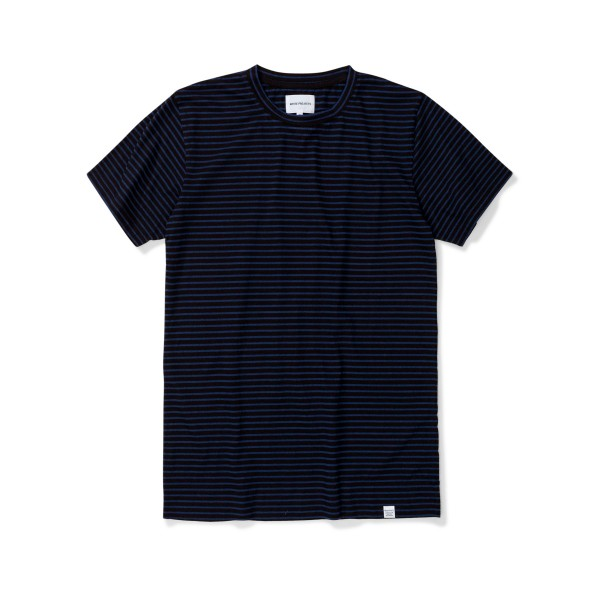 Norse Projects Niels Indigo Stripe T-Shirt (Black)