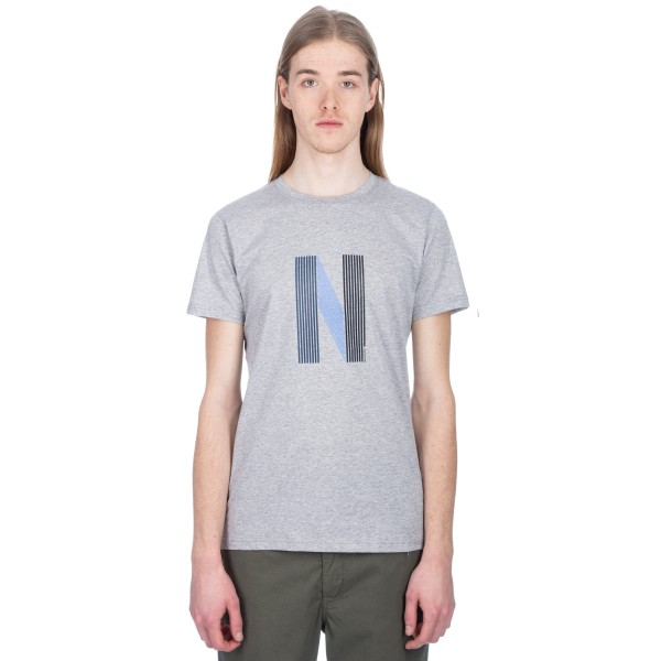 Norse Projects Niels Layer Logo T-Shirt (Light Grey Melange)
