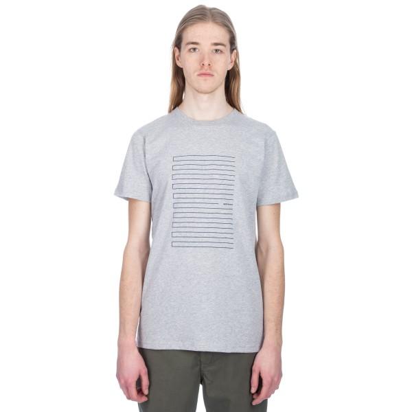 Norse Projects Niels Stripe Screen Logo T-Shirt (Light Grey Melange)