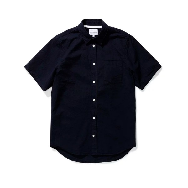 Norse Projects Osvald Seersucker Shirt (Navy)