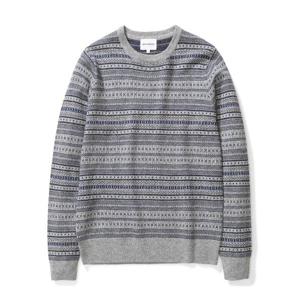 Norse Projects Sigfred Fairisle Cashwool Jumper (Light Grey Melange)
