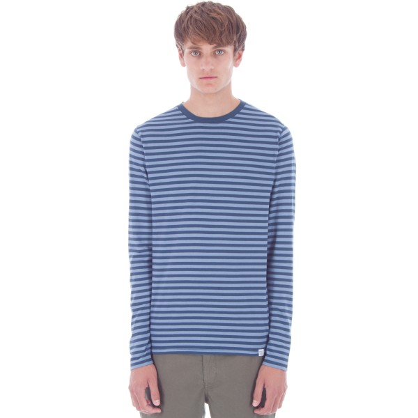 Norse Projects Svali Military Stripe Long Sleeve T-Shirt (Boundary Blue/Marginal Blue)