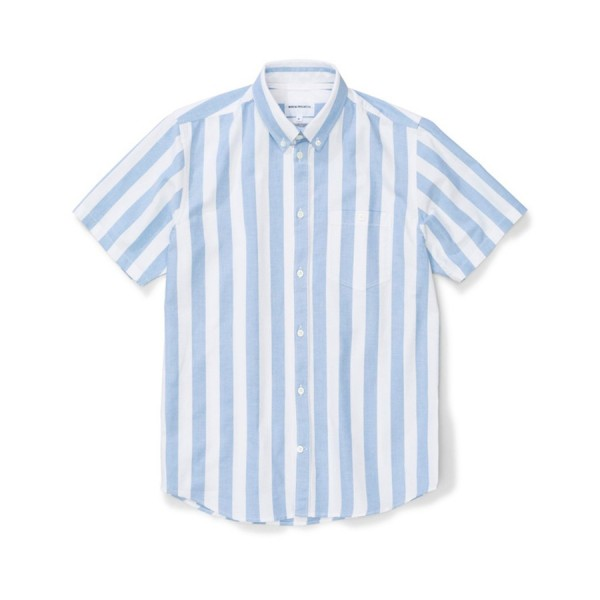 Norse Projects Theo Oxford Shirt (Pale Blue Wide Stripe)