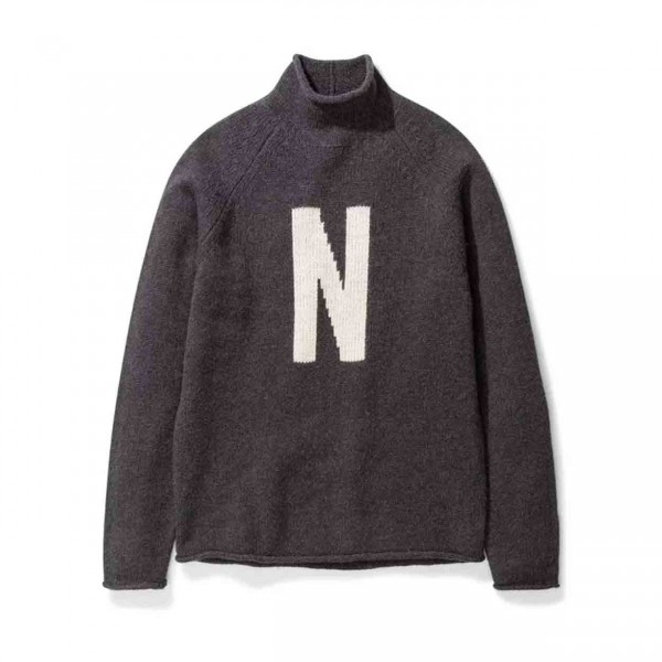 Norse Projects Thore N Intarsia Jumper (Charcoal Melange)