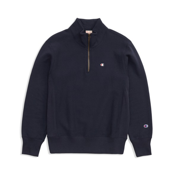 Champion Reverse Weave Half Zip-Through Turtleneck Sweatshirt (Navy)