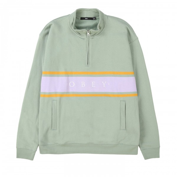 Obey Gaze Mock Neck Zip Sweatshirt (Light Sage)