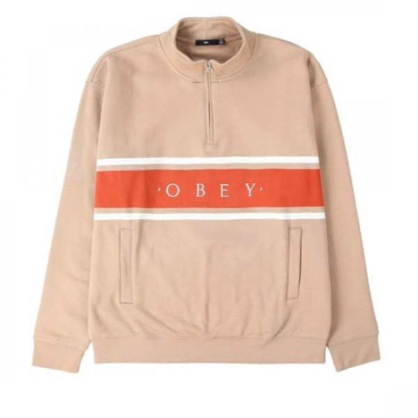 Obey Gaze Mock Neck Zip Sweatshirt (Taupe)