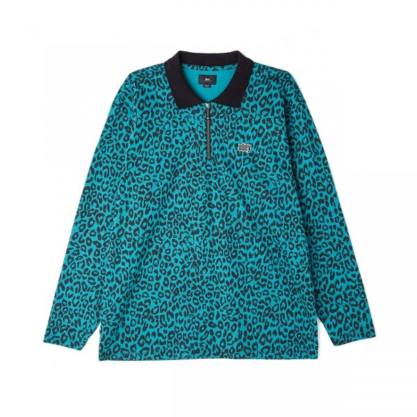 Obey Gimme Classic Long Sleeve Polo Shirt (Teal Leopard)