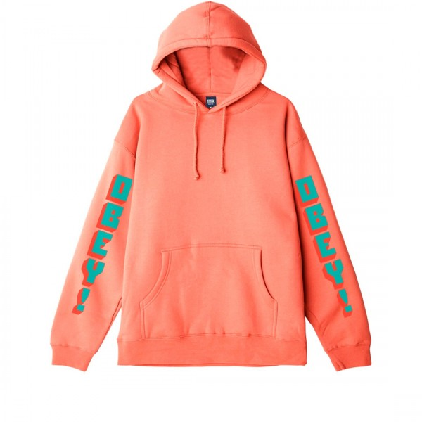 Obey New World 2 Pullover Hooded Sweatshirt (Coral)