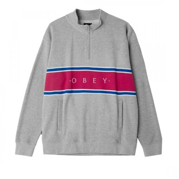 Obey Palisade Mock Neck Zip Sweatshirt (Heather Grey)