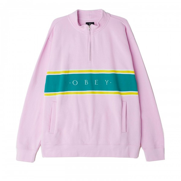 Obey Palisade Mock Neck Zip Sweatshirt (Pink)