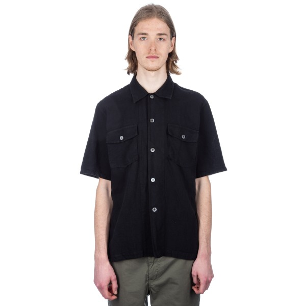 Our Legacy Chamois Short Sleeve Shirt (Black Cotton/Linen)