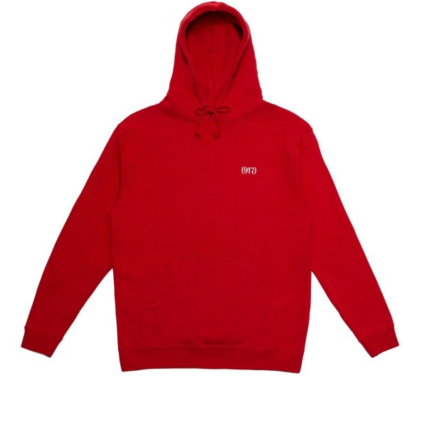 Call Me 917 Area Code Pullover Hooded Sweatshirt (Red)