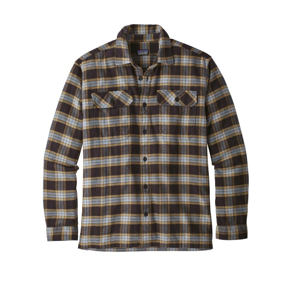 Patagonia Fjord Flannel Long Sleeve Shirt (Migration Plaid Small: Black)
