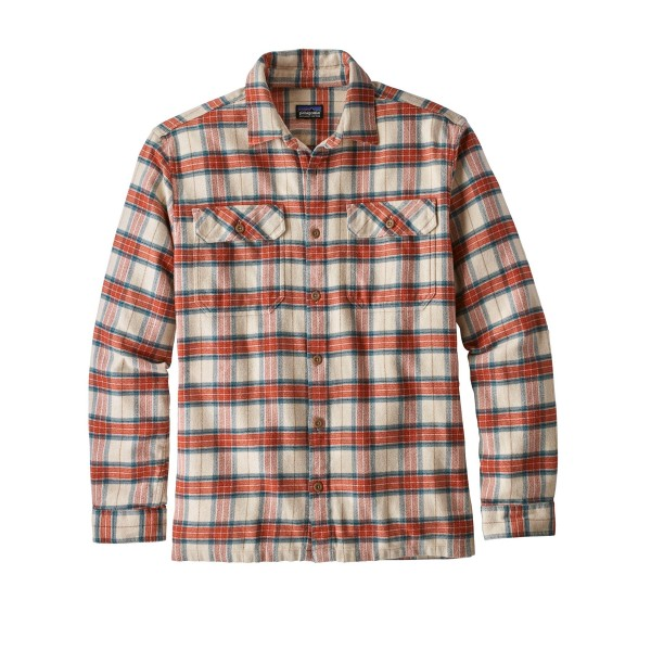 Patagonia Fjord Flannel Long Sleeve Shirt (Migration Plaid Small: Light Sesame)