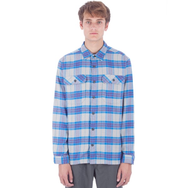 Patagonia Fjord Flannel Long Sleeve Shirt (Migration Plaid: Andes Blue)