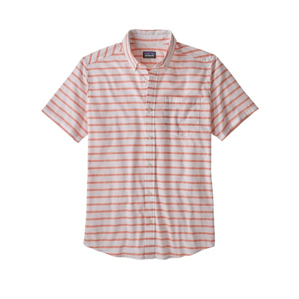 Patagonia Lightweight Bluffside Shirt (Terrain Stripe: Sunset Orange)