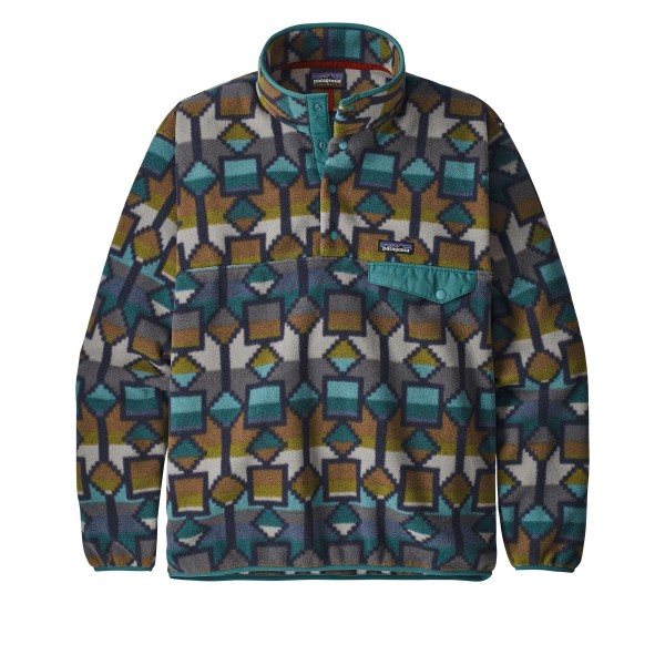 Patagonia Lightweight Synchilla Snap-T Pullover Fleece - European Fit (Cedar Mesa Big: New Navy)