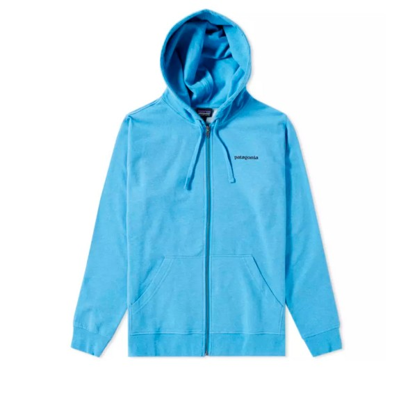 Patagonia P-6 Label Midweight Full-Zip Hooded Sweatshirt (Radar Blue)
