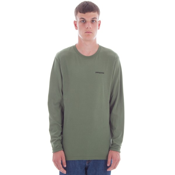 Patagonia P-6 Logo Cotton Long Sleeve T-Shirt (Buffalo Green)