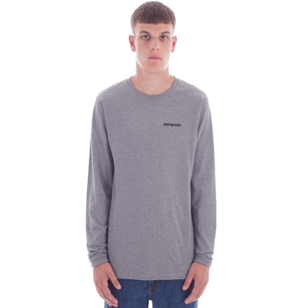 Patagonia P-6 Logo Cotton Long Sleeve T-Shirt (Gravel Heather)
