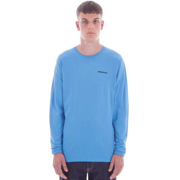Patagonia P-6 Logo Cotton Long Sleeve T-Shirt (Radar Blue)