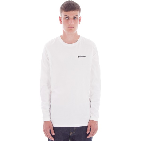 Patagonia P-6 Logo Cotton Long Sleeve T-Shirt (White)