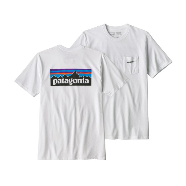 Patagonia P-6 Logo Cotton Pocket T-Shirt (White)