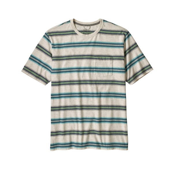 Patagonia Squeaky Clean Pocket T-Shirt (Tarkine Stripe: Pelican)