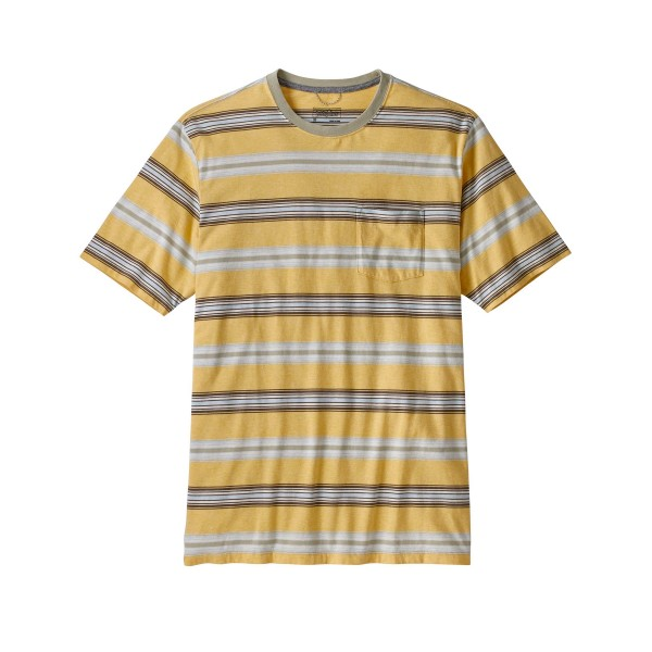 Patagonia Squeaky Clean Pocket T-Shirt (Tarkine Stripe: Surfboard Yellow/Weathered Stone)