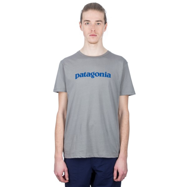 Patagonia Text Logo Organic Cotton T-Shirt (Feather Grey)