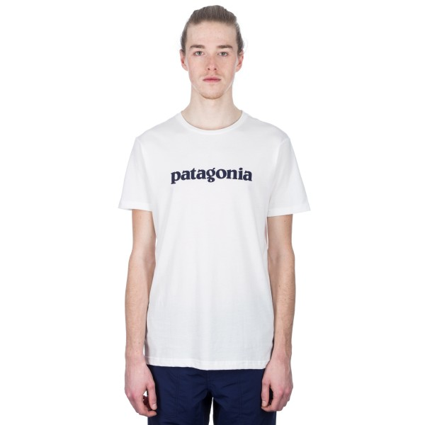 Patagonia Text Logo Organic Cotton T-Shirt (White)