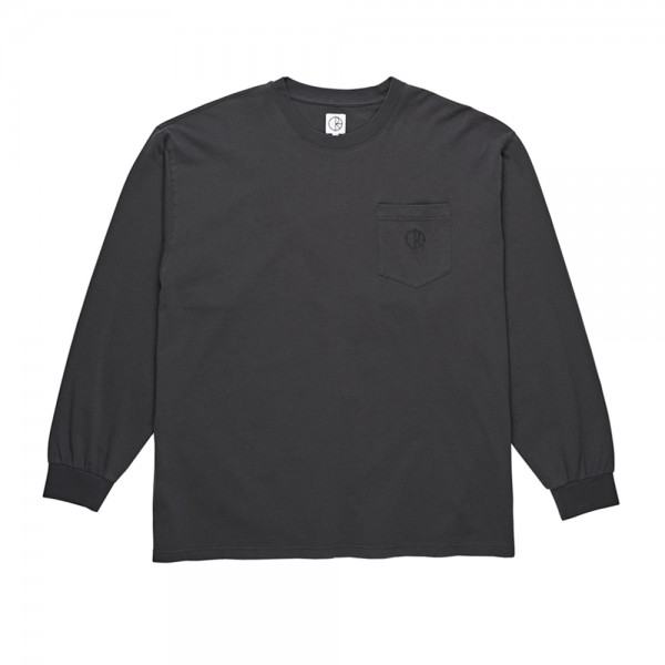 Polar Garment Dyed Pocket Long Sleeve T-Shirt (Washed Black)