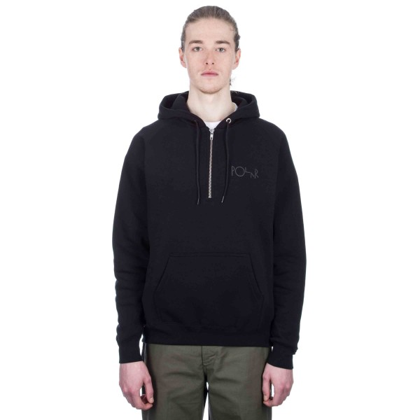 Polar Half Zip Pullover Hooded Sweatshirt (Black)