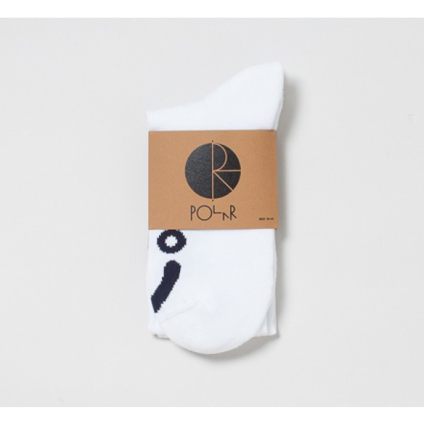 Polar Happy Sad Knee High Socks (White/Navy)