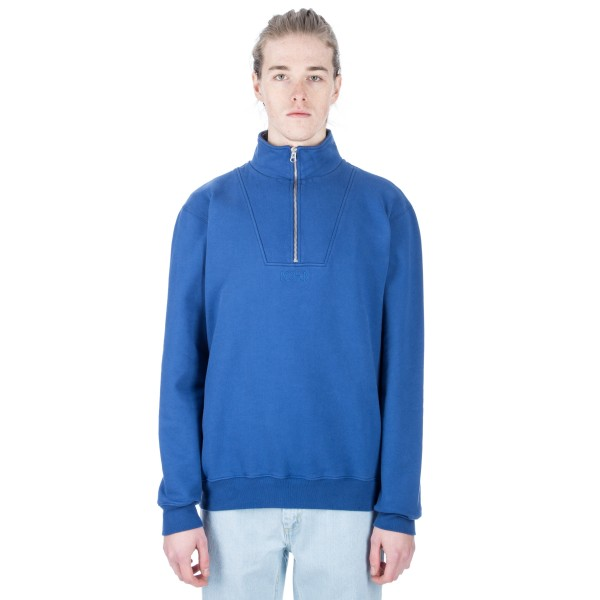 Polar Heavyweight Zip Neck Sweatshirt (Indigo Blue)