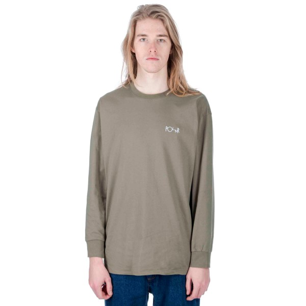 Polar Script Logo Long Sleeve T-Shirt (Dusty Olive)