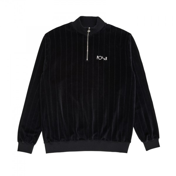Polar Skate Co. Velour Zip Neck Sweatshirt (Black)
