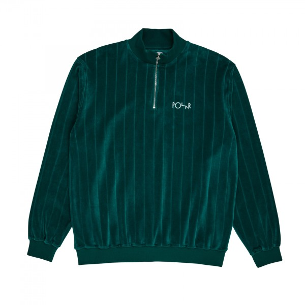Polar Skate Co. Velour Zip Neck Sweatshirt (Dark Green)