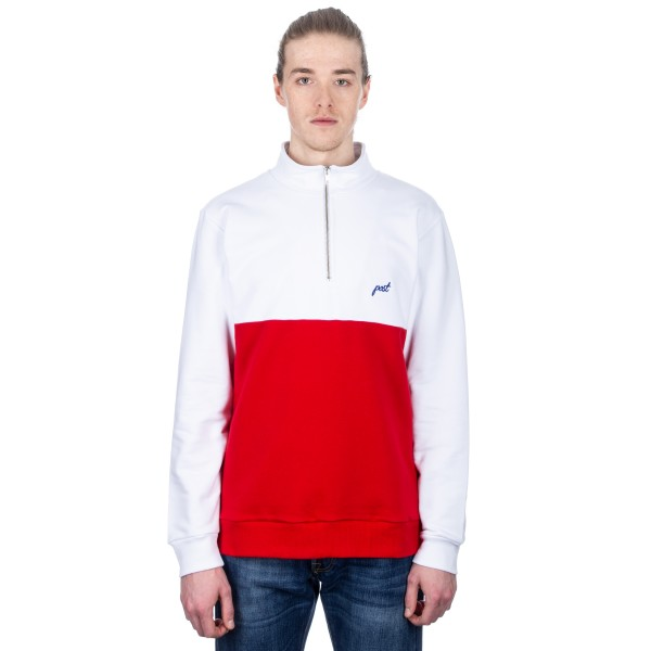 Post Details Shuffleboard Half-Zip Pullover Sweatshirt (Red/White)