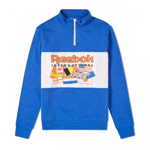 Reebok International Flag Quarter Zip Pullover Sweatshirt (Acid Blue)