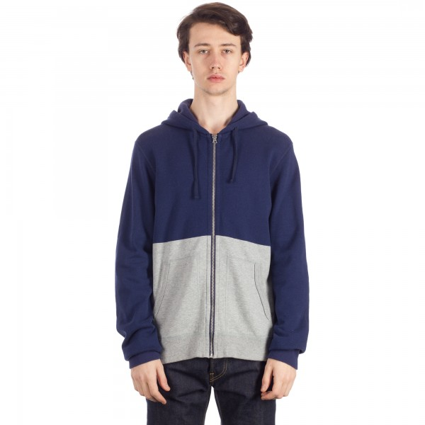 Reigning Champ Engineered Stripe Zip Hooded Sweatshirt (Navy/Heather Grey)