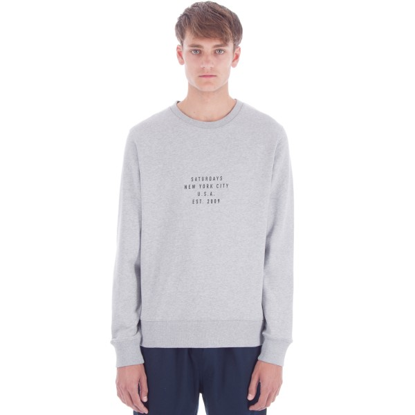 Saturday's Surf NYC Bowery Established USA Crew Neck Sweatshirt (Ash Heather)