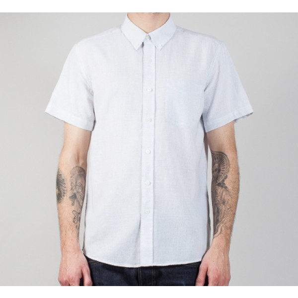 Saturday's Surf NYC Esquina Loop Jacquard Short Sleeve Shirt (White)