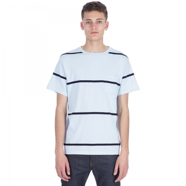 Saturday's Surf NYC Randall Indigo Stripe T-Shirt (Light Washed Indigo)